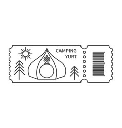 Ticket with barcode and yurt vector
