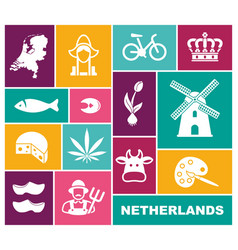 traditional symbols of the netherlands flat icons vector image