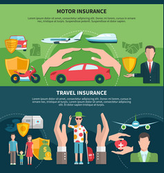 Travel and transport insurance banners vector