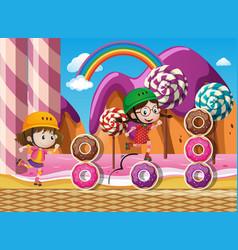 Two kids rollerskate in candyland vector