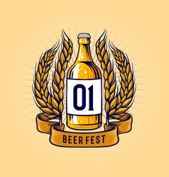 Vintage wheat beer bottle and ribbon vector