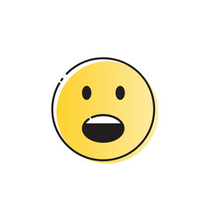yellow cartoon face screaming people emotion icon vector image