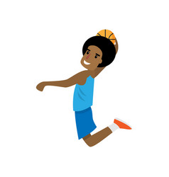 Young african boy jumping with ball at basketball vector