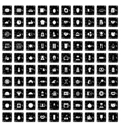 100 breakfast icons set grunge style vector