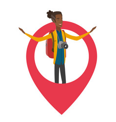 african traveler standing in a big map pointer vector image