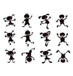 black cartoon kids silhouette vector image