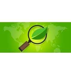 ecology eco friendly world map green leaf symbol vector image