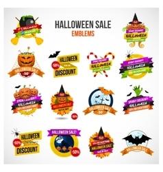 Halloween Sale Emblem and Label Set vector image vector image