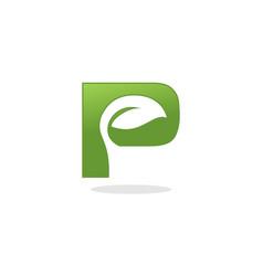 letter p leaf logo vector image