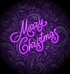 Merry Christmas Card with Neon Color and Bokeh vector image vector image