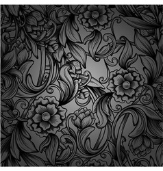 monochrome seamless pattern with decorative peony vector image vector image
