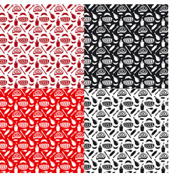 set of seamless patterns for grill and barbecue vector image vector image