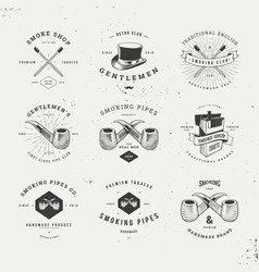 smoking pipes logo set vector image