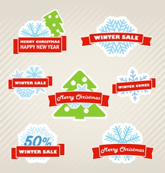 Winter labels set vector image vector image