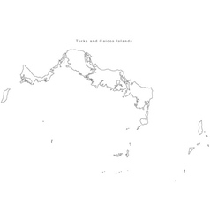 Black White Turks and Caicos Islands Outline Map vector image