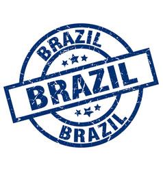 brazil blue round grunge stamp vector image vector image