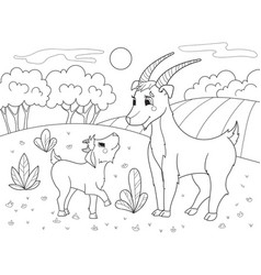 childrens cartoon coloring book a family of goats vector image vector image