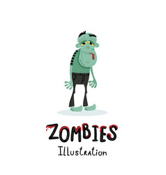 cute green zombie character in cartoon style vector image vector image