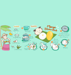 mango with sticky rice thai dessert vector image