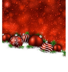 Red winter background with christmas balls vector image