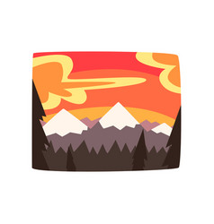 rocky mountains at sunset beautiful nature vector image