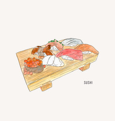 set of sushi japanese food hand drawn water vector image vector image