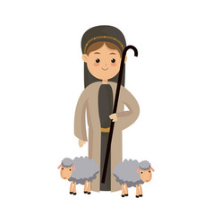 shepherb cute manger with sheeps character vector image vector image