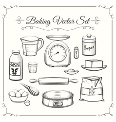 Baking food ingredients and kitchen tools in hand vector image
