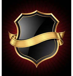 Black and gold shield and ribbon vector
