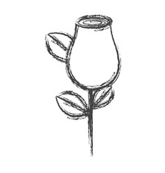 blurred silhouette sketch rosebud with leaves and vector image vector image