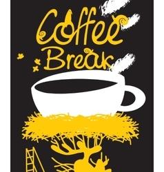 coffee in bird nest vector image vector image