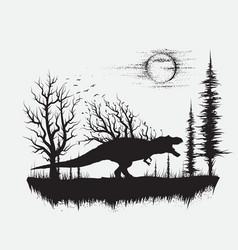 Dinosaur t-rex in strange forest vector