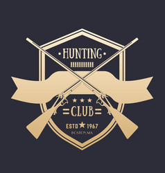 hunting club vintage logo with two crossed rifles vector image vector image