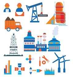 Industry icons for factory and workers vector image vector image