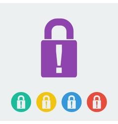 lock flat circle icon vector image