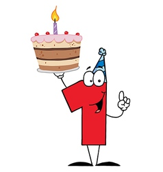 Number One Holding Up A First Birthday Cake vector image