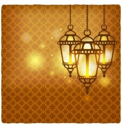 ramadan kareem golden background with shining vector image