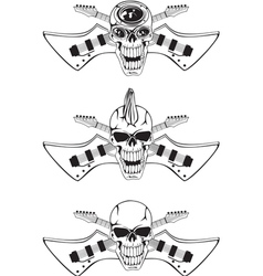 skull with crossed guitars vector image vector image