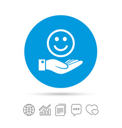 smile and hand sign palm hold happy face symbol vector image vector image