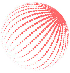 abstract red halftone globe vector image vector image