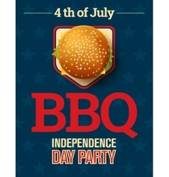 Barbecue party invitation with cheeseburger and vector image vector image