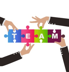 Business people help to assembly puzzle vector image