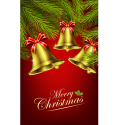 christmas bells with palm tree vector image vector image