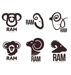 Set of ram sheep lamb head graphic logo vector image vector image