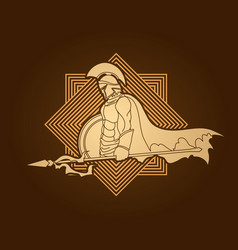 spartan warrior with spear and shield roman army vector image