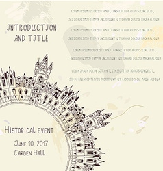 Template for the historical event invitation with vector image
