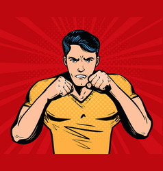 Aggressive and angry man with fists fighter vector