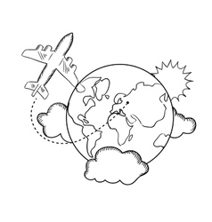 Air travel around earth sketch vector