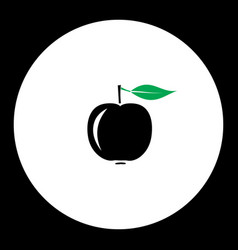 Apple fruit simple black and green icon eps10 vector