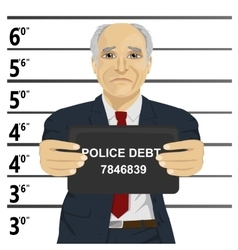 Arrested senior businessman posing for mugshot vector image